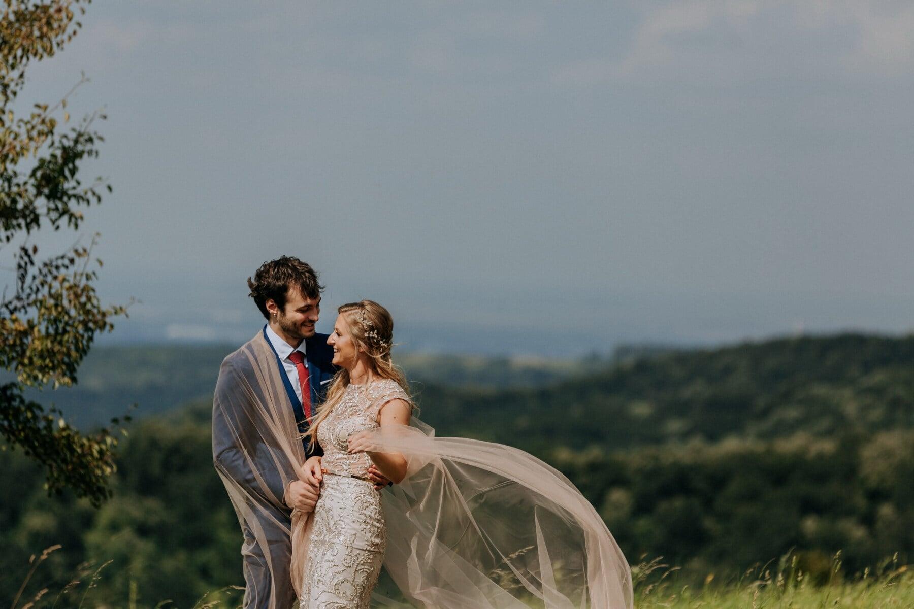 romantic, love date, veil, hike, hiker, wedding, groom, love, girl, engagement