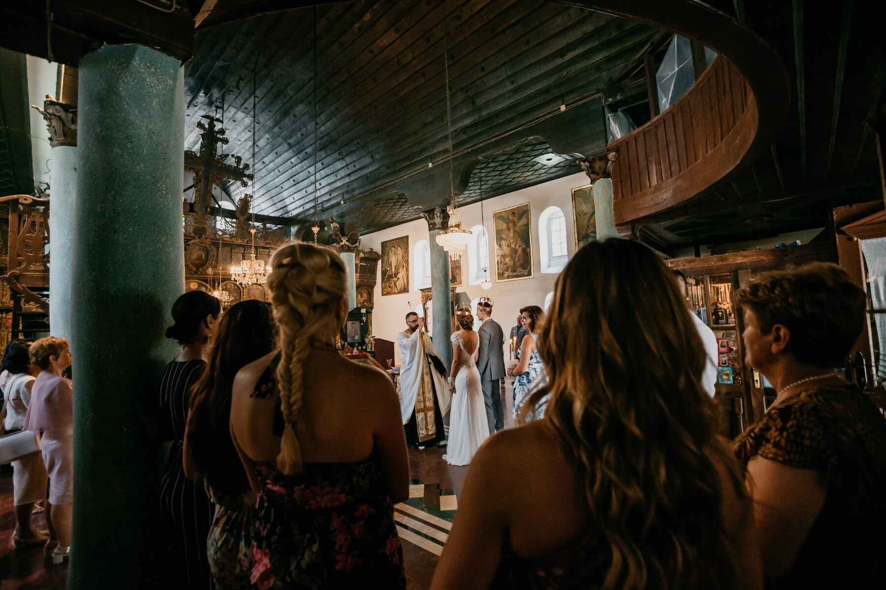 wedding venue, wedding, church, orthodox, crowd, monastery, group, people, woman, indoors