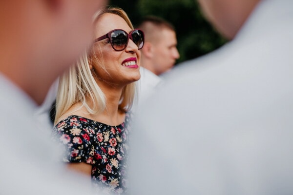 blonde, smile, sunglasses, side view, lips, eyeglasses, lipstick, woman, face, fashion