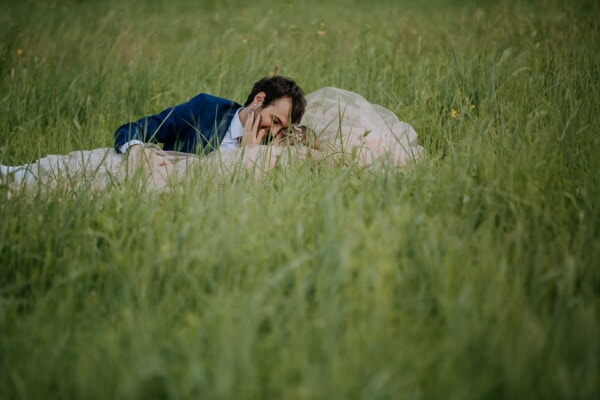 girlfriend, romantic, boyfriend, grass, love, love date, laying, field, girl, relaxation