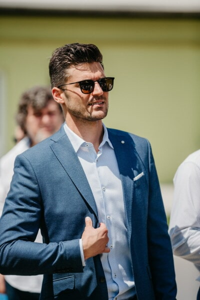 man, handsome, sunglasses, standing, smile, businessman, corporate, business, executive, confident