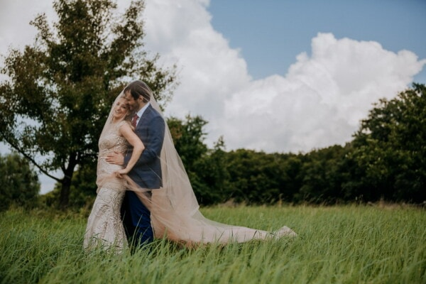 grass, recreation, groom, bride, nature, hugging, love, girl, woman, summer