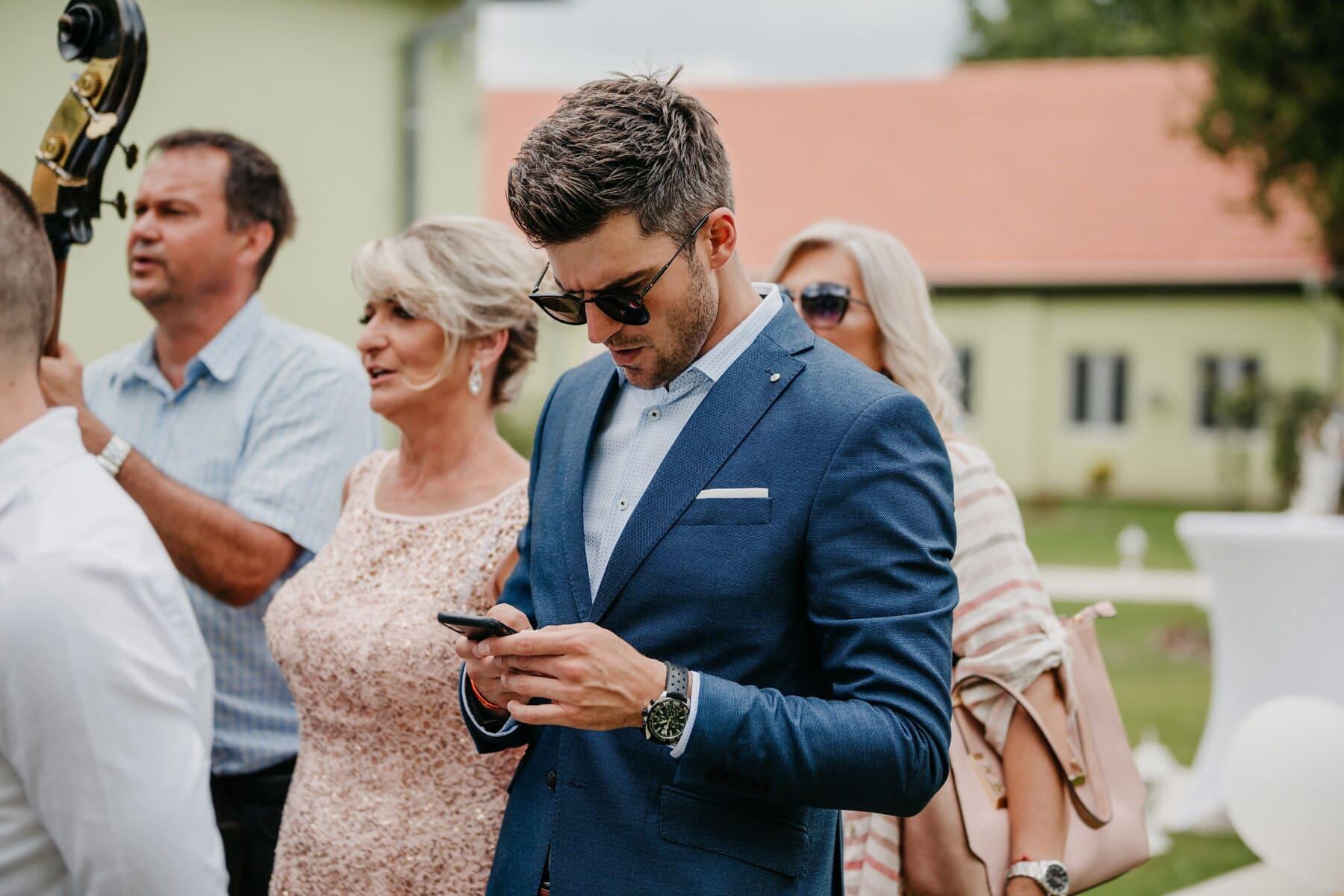 businessman, handsome, mobile phone, crowd, woman, executive, meeting, man, business, secretary