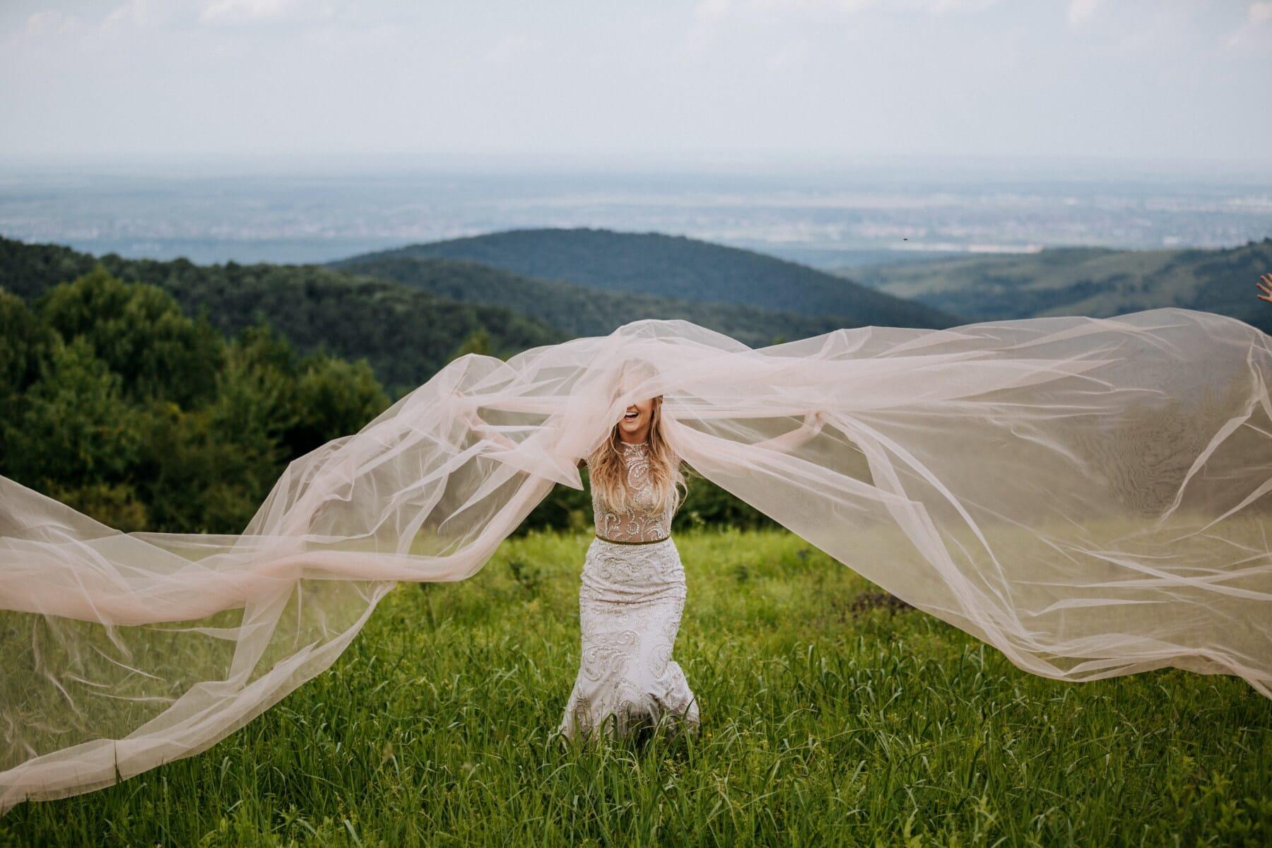veil, pretty girl, hike, hiker, hillside, hilltop, girl, nature, woman, grass