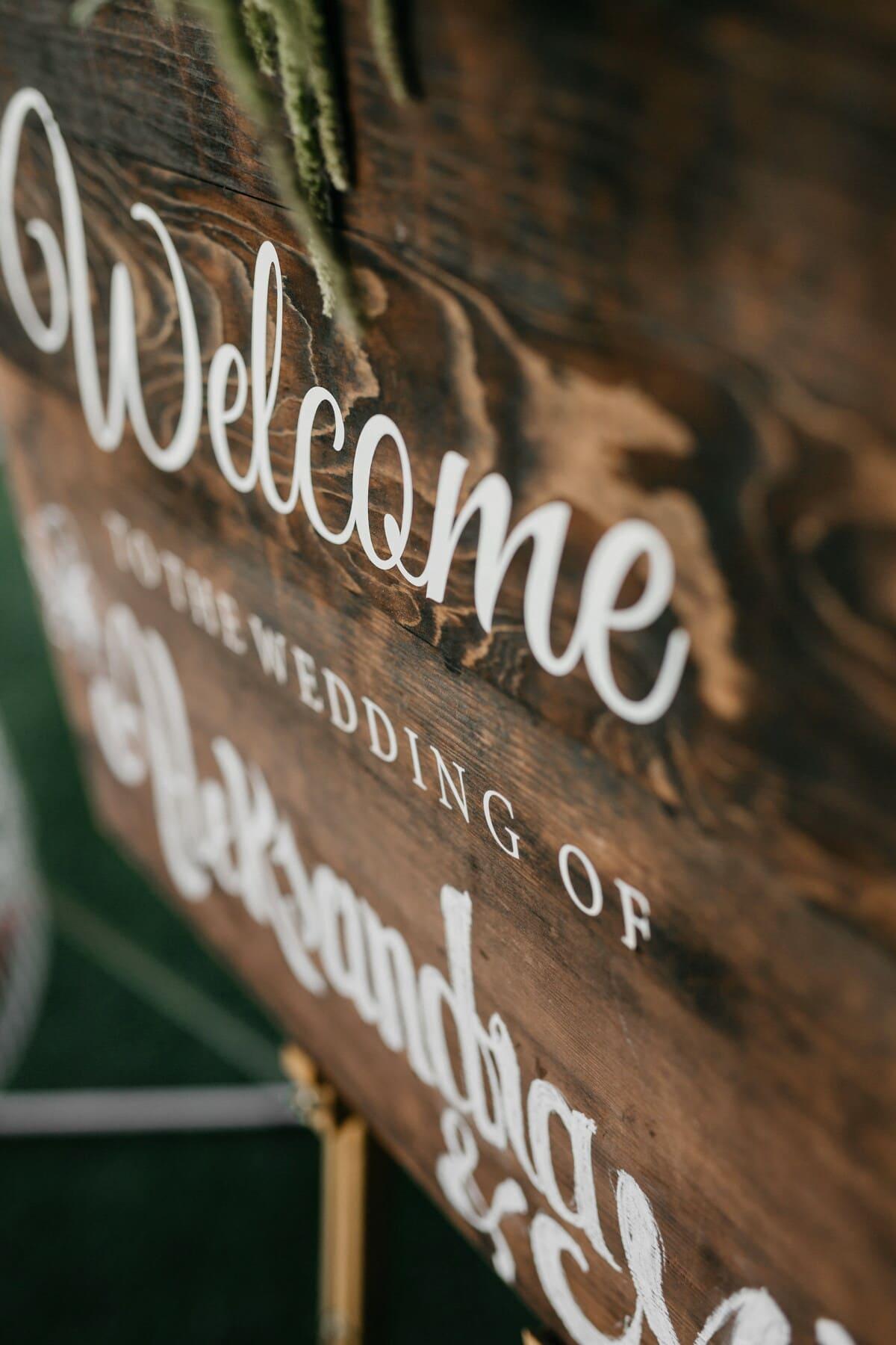 signe, bienvenue, en bois, texte, vintage, conception, romantique, bois, Retro, vieux
