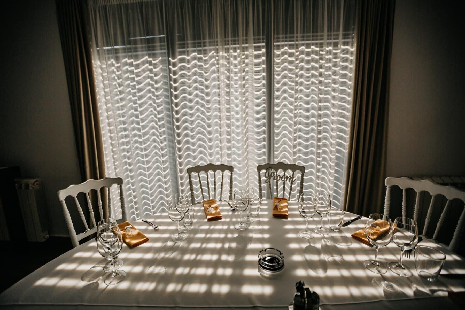 ombre, élégance, ténèbres, salle à manger, salle à manger, nappe, table, vaisselle, Cendrier, chaises