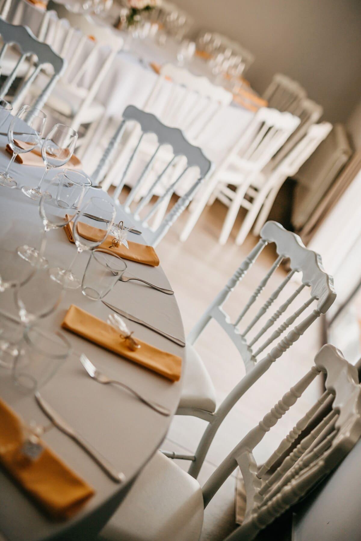 weiß, Geschirr, Tischdecke, Stühle, Tische, Eleganz, Kantine, Besteck, drinnen, Hochzeit