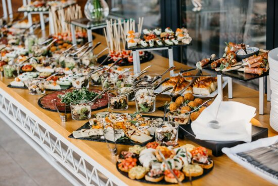 buffet, tableware, sushi, snack, food, table, plate, dinner, interior design, banquet