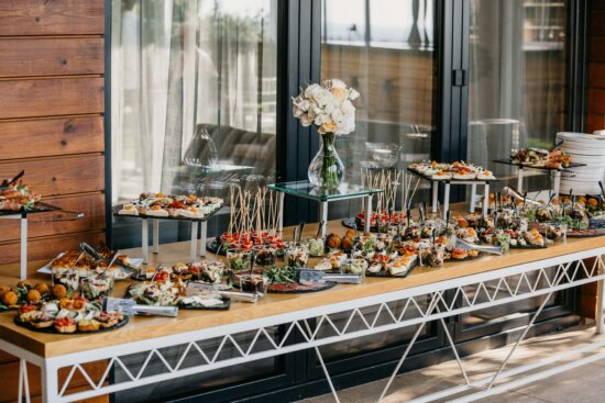 buffet, snack, food, table, porch, balcony, interior design, indoors, luxury, architecture