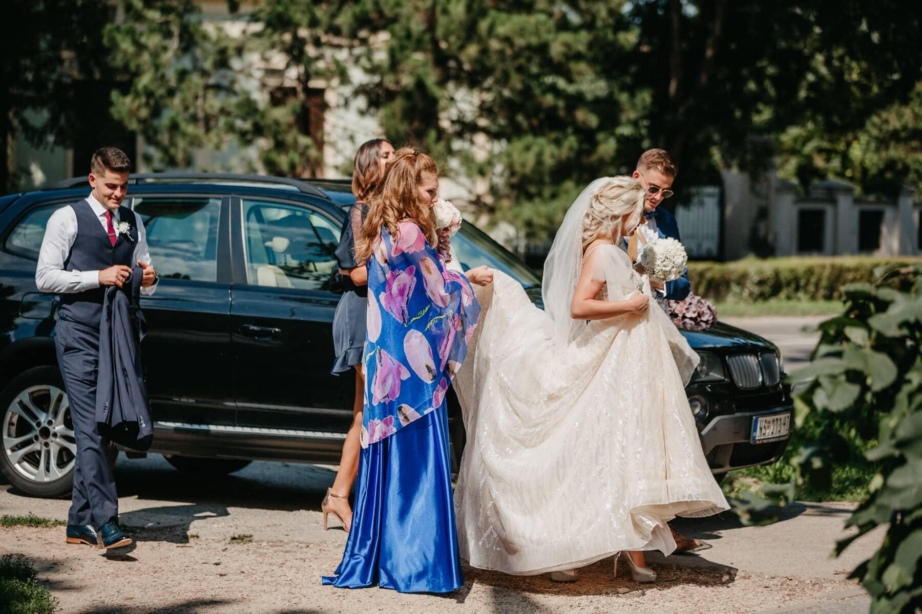 mariage, cérémonie, la mariée, jeune marié, amis, parrain, amitié, femme, gens, robe