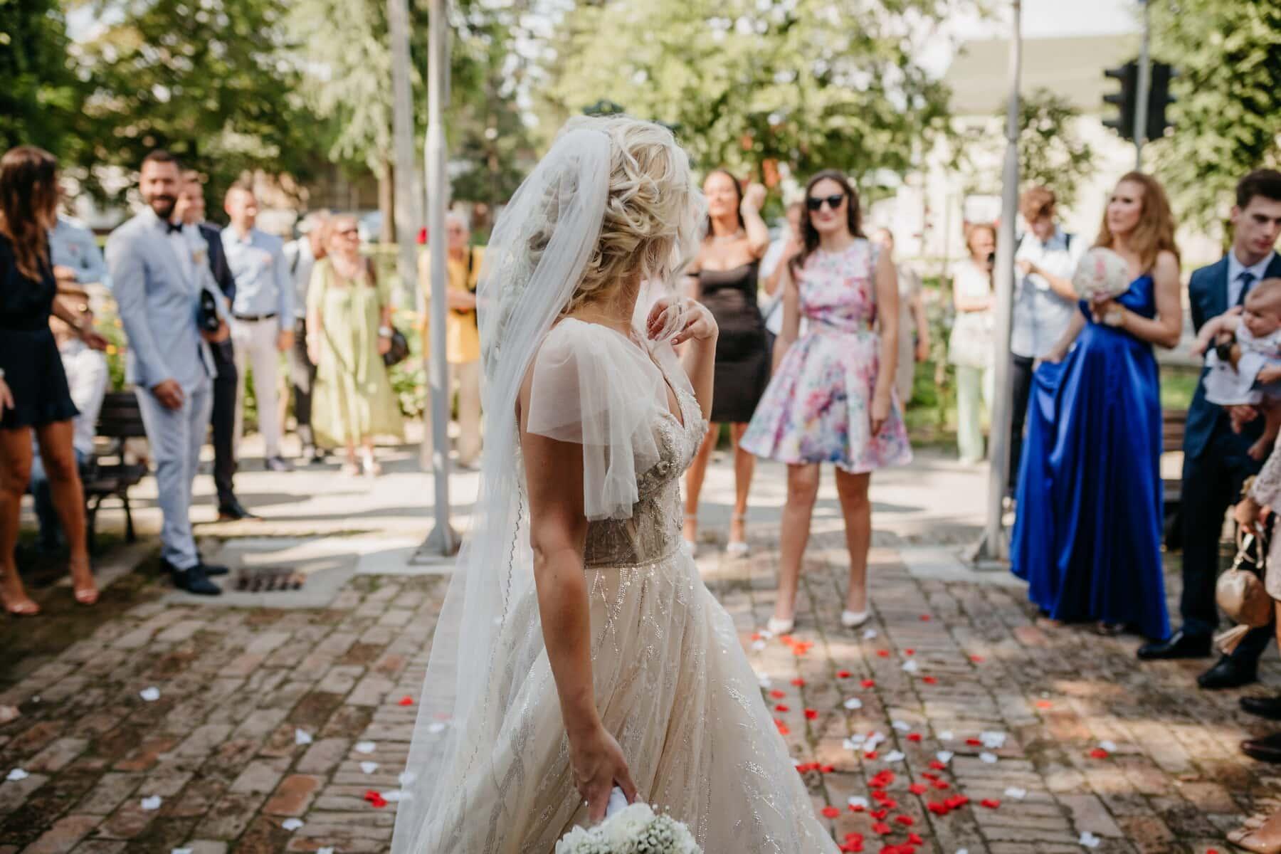 crowd, girlfriend, bride, ceremony, friends, wedding, people, woman, outdoors, dress