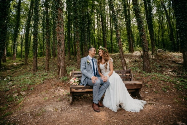 groom, bride, forest, forest path, bench, sitting, girl, couple, tree, wood
