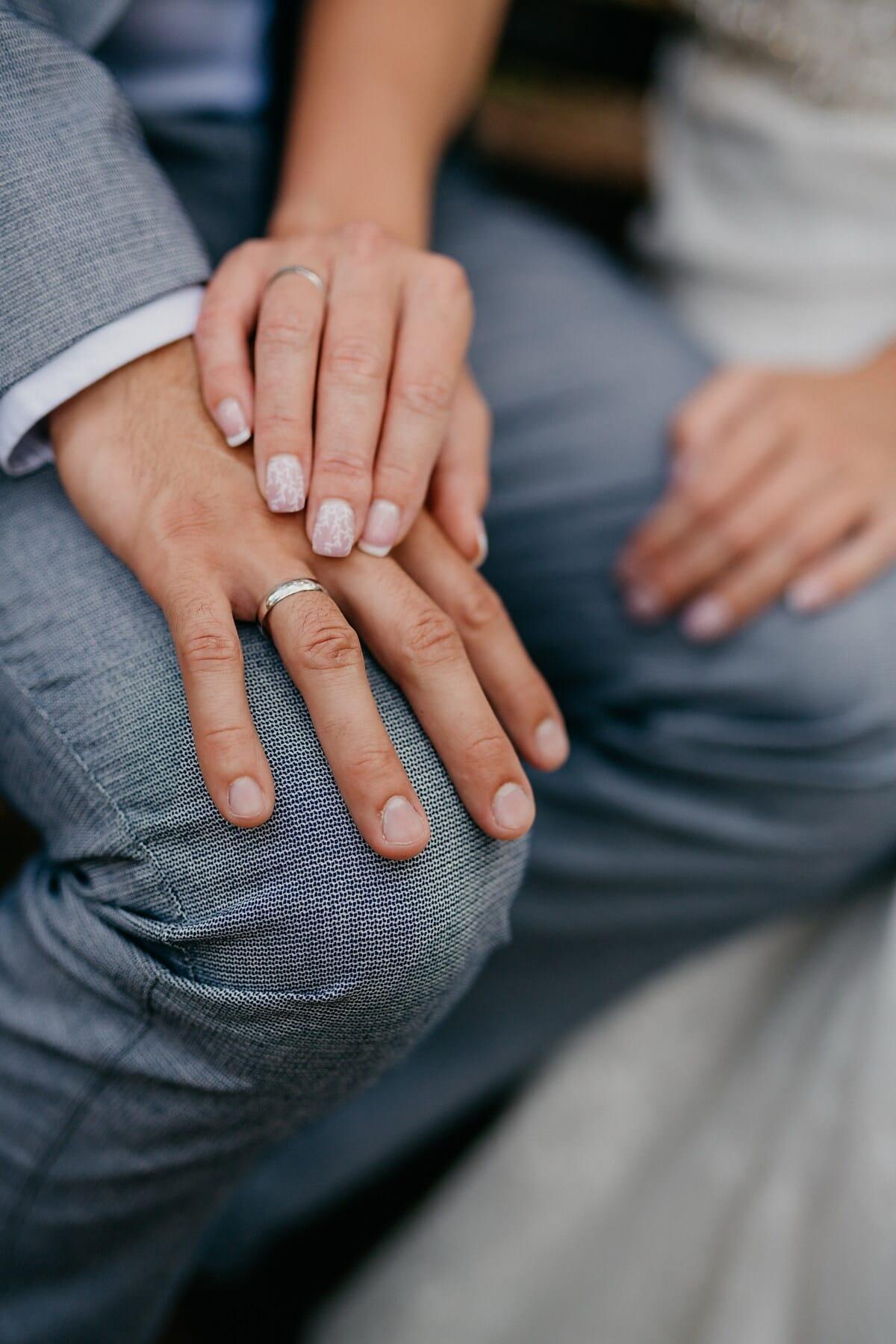 doigt, main dans la main, anneaux, mains, main, femme, amour, convivialité, homme, Touch