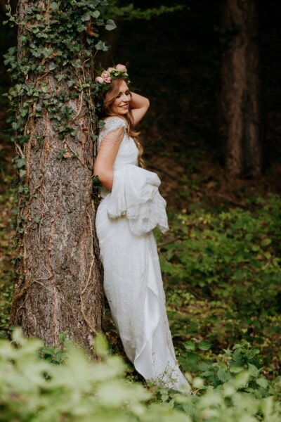 goddess, bride, princess, pretty girl, nymph, forest, trees, ivy, fashion, nature