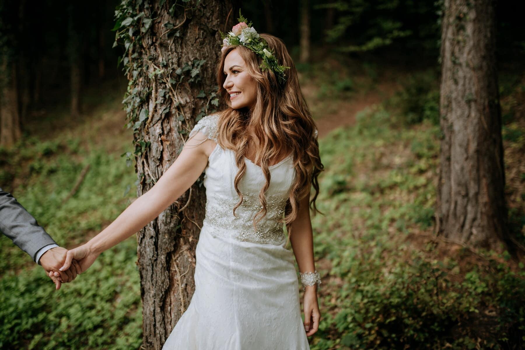 déesse, nymphe, mariage, la mariée, nature, robe, mode, jeune fille, bois, femme