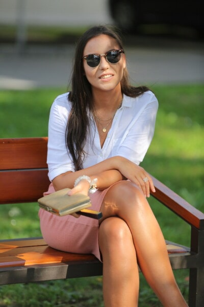 young woman, lady, relaxation, bench, sitting, elegance, smile, portrait, face, sunglasses