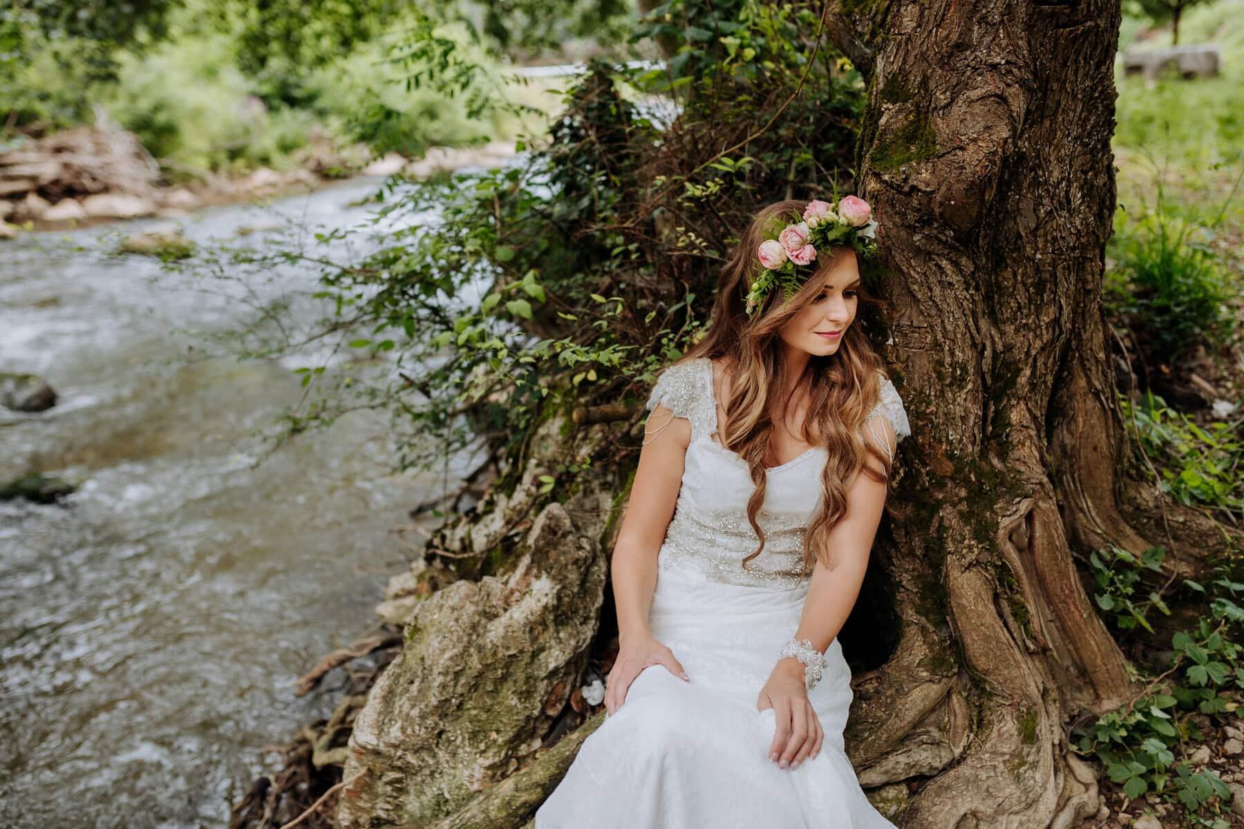 goddess, beauty, pretty girl, nymph, bride, dress, girl, wood, tree, portrait