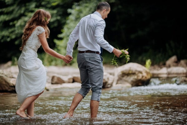 woman, man, crosswalk, river, legs, barefoot, happy, outdoors, love, water