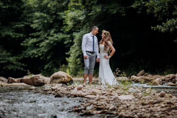 groom, just married, bride, hiking, creek, riverbank, love, person, farmer, woman