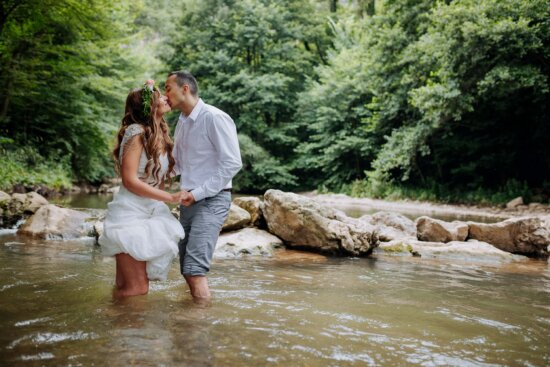 kiss, woman, man, water, creek, standing, river, love, nature, togetherness