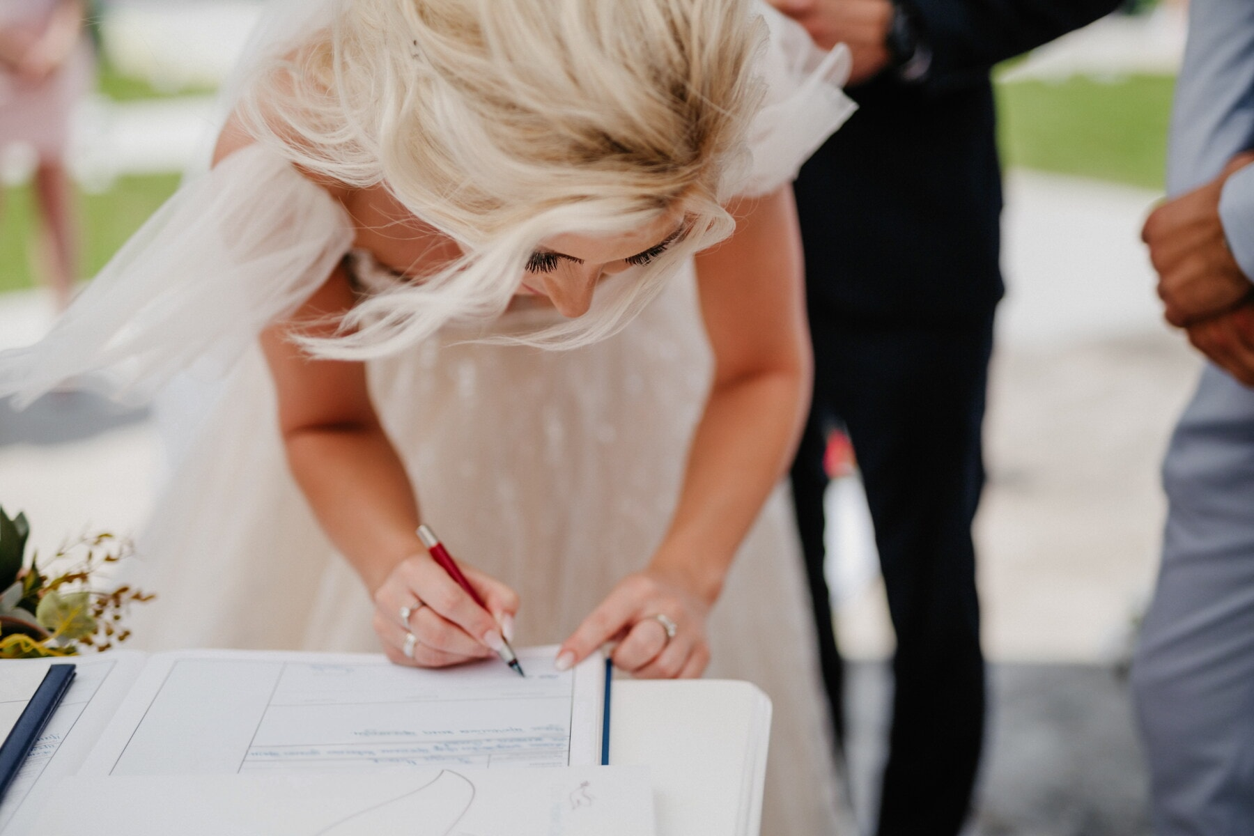 la mariée, signe, mariage, signature, crayon, livre, femme, amour, joli, romance