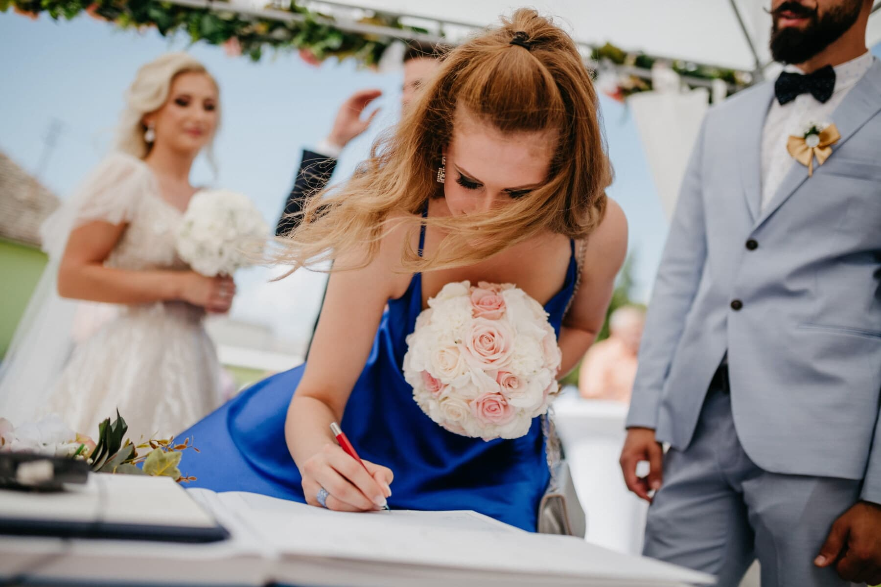 sign, marriage, godfather, friends, friendship, bride, groom, wedding, man, people