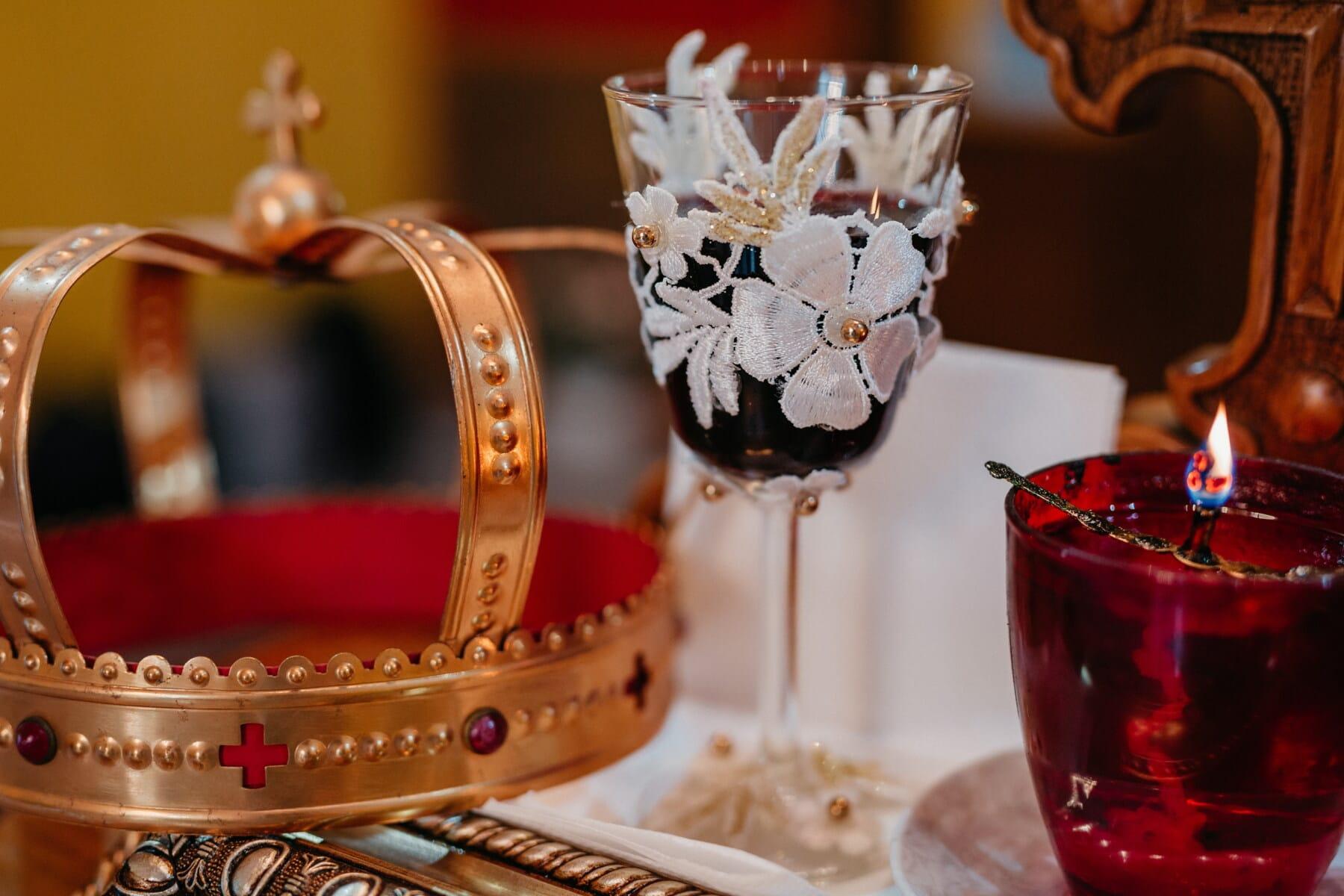 couronnement, Couronne, vin rouge, aux chandelles, religieux, cérémonie, bougie, Design d'intérieur, mariage, romance