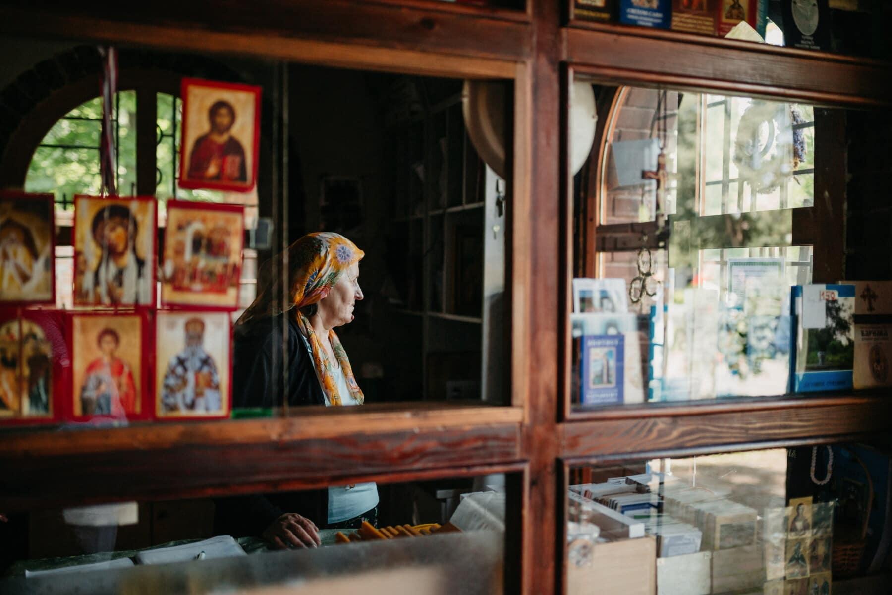 Shopping, commerçant, Monastère de, magasin, icône, religieux, gens, stock, art, à pied