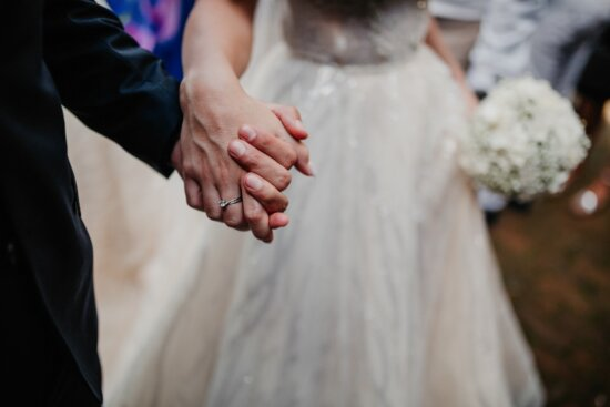 holding hands, bride, groom, together, relationship, marriage, woman, wedding, person, love