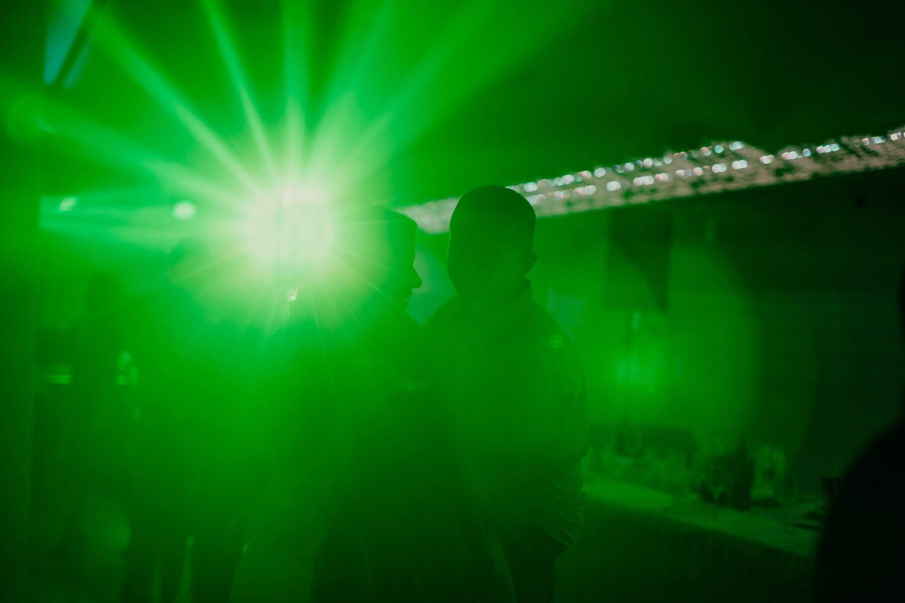 boîte de nuit, parti, Vie nocturne, lumière, feu vert, laser, musique, brillante, brillant, concert