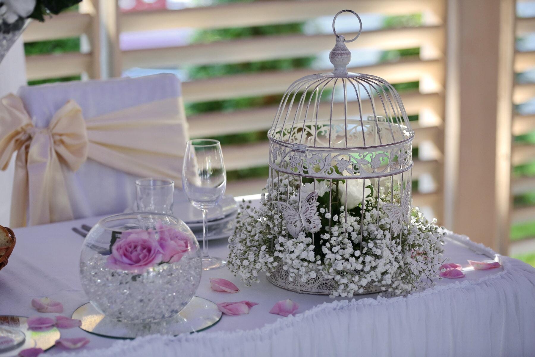 romantique, table à dîner, élégant, vintage, cage, réception, décoration, Design d'intérieur, mariage, à l'intérieur