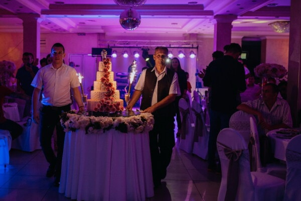 nightclub, wedding cake, bartender, ceremony, hotel, wedding, crowd, people, restaurant, bride
