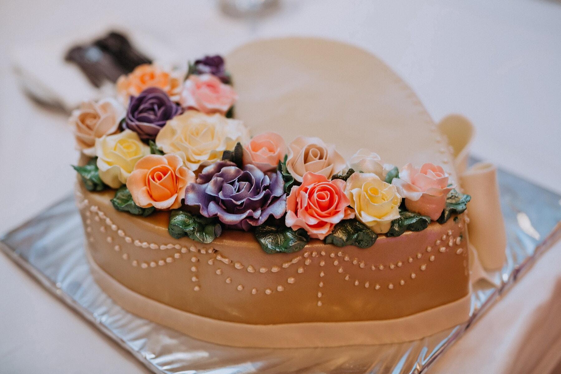 Herz, Form, Dessert, Kuchen, Romantik, Essen, Blume, Gebäck, süß, stieg