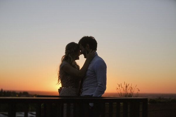 love date, kiss, sunset, backlight, balcony, hugging, sun, love, girl, romance