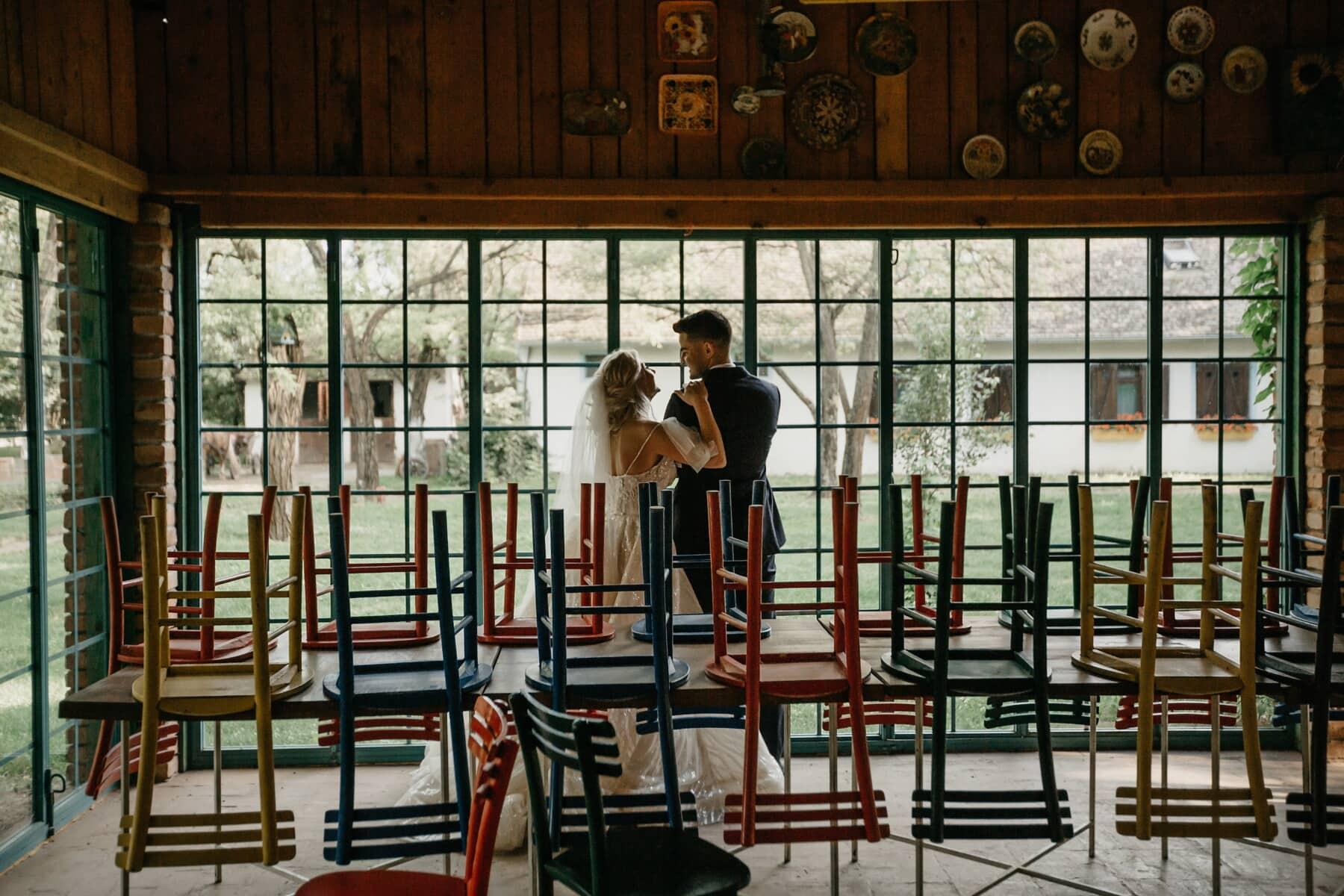 la mariée, jeune marié, cafétéria, vide, restaurant, tables, chaises, gens, chaise, meubles