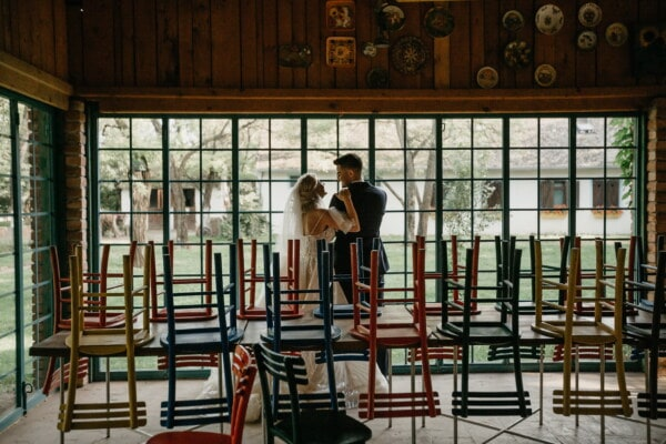 bride, groom, cafeteria, empty, restaurant, tables, chairs, people, chair, furniture
