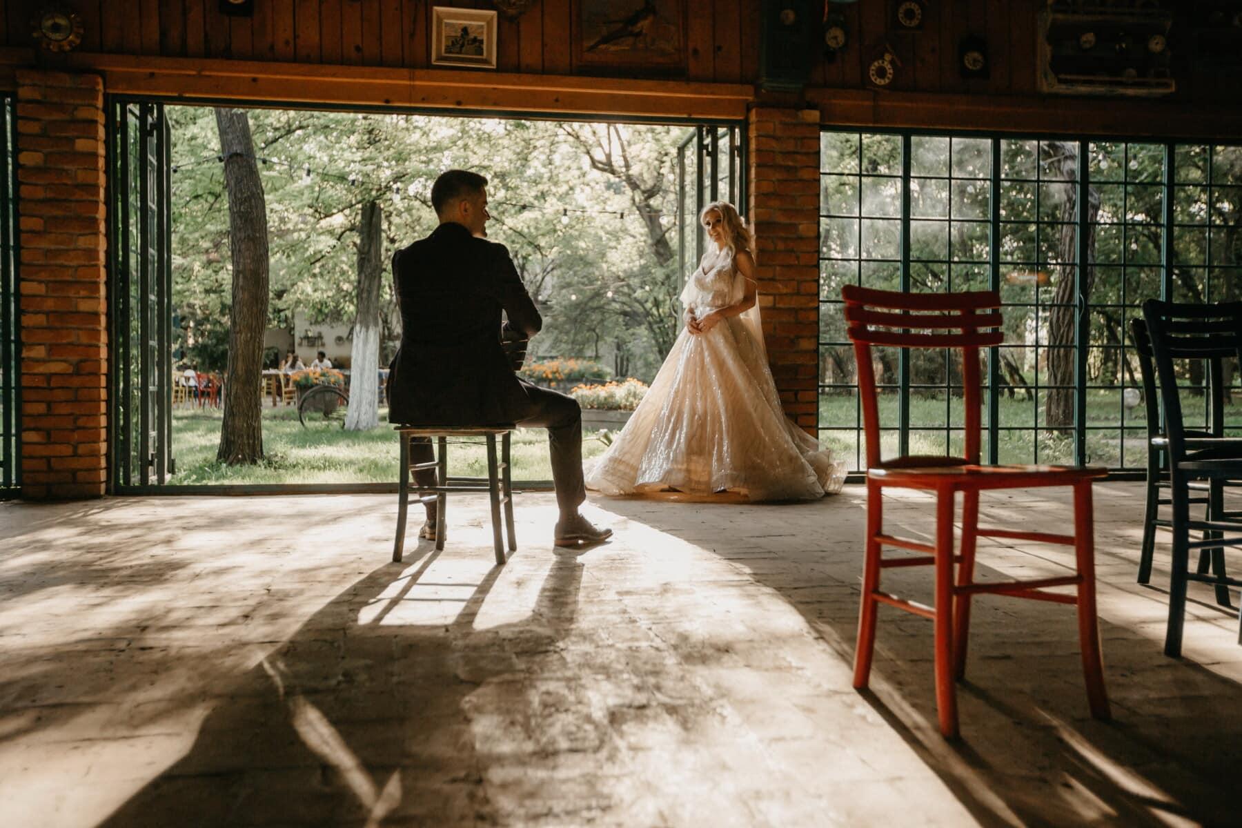 Braut, Bräutigam, Lager, Hochzeitsort, industrielle, Hochzeit, Menschen, Terrasse, Mädchen, Frau