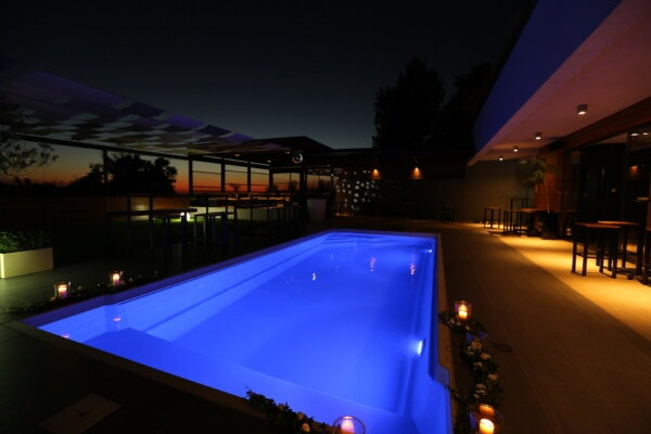 swimming pool, hotel, night, nightclub, spectacular, fancy, light, evening, architecture, dusk