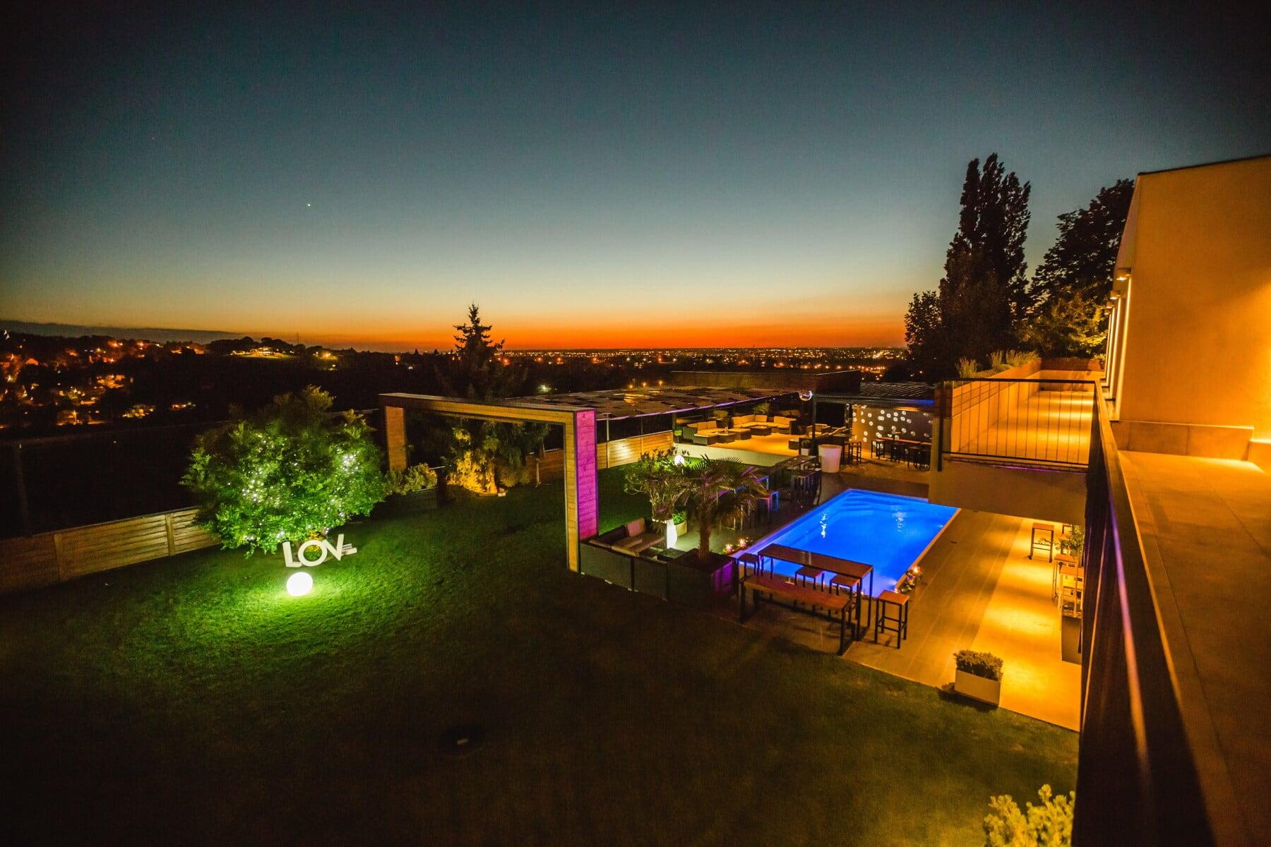 restaurant, nighttime, swimming pool, sunset, nightclub, hotel, palace, nightlife, resort area, light