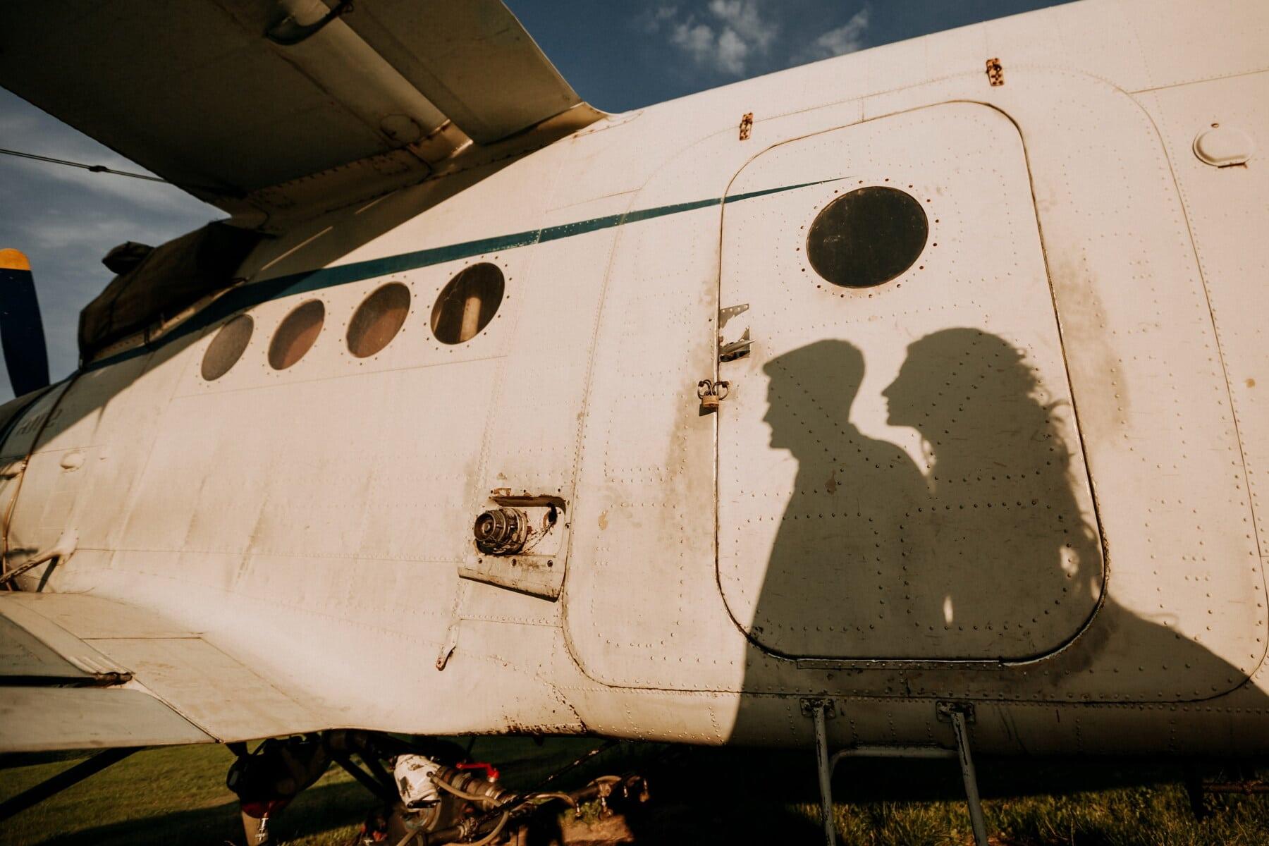 silhouette, boyfriend, girlfriend, airport, aircraft, propeller, aircraft engine, shadow, vehicle, airplane