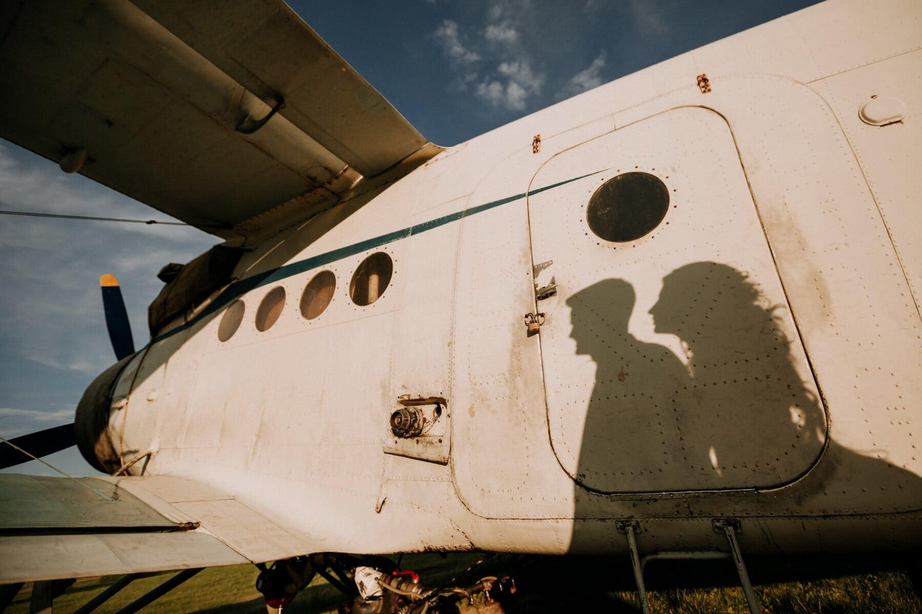 Silhouette, Freund, Freundin, Flugzeug, Flugmotor, Liebe, Bomber, Luft, Jet, Krieg
