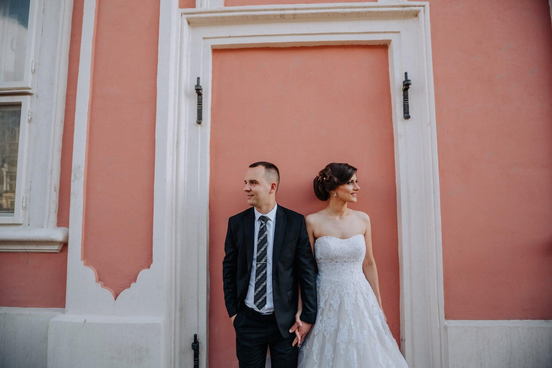 groom, bride, wedding dress, suit, side view, woman, bouquet, dress, married, marriage