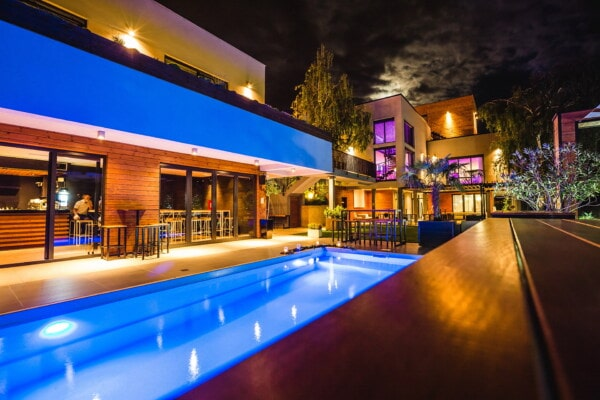 luxury, swimming pool, nightclub, night, nightlife, backyard, residence, exterior, light, city