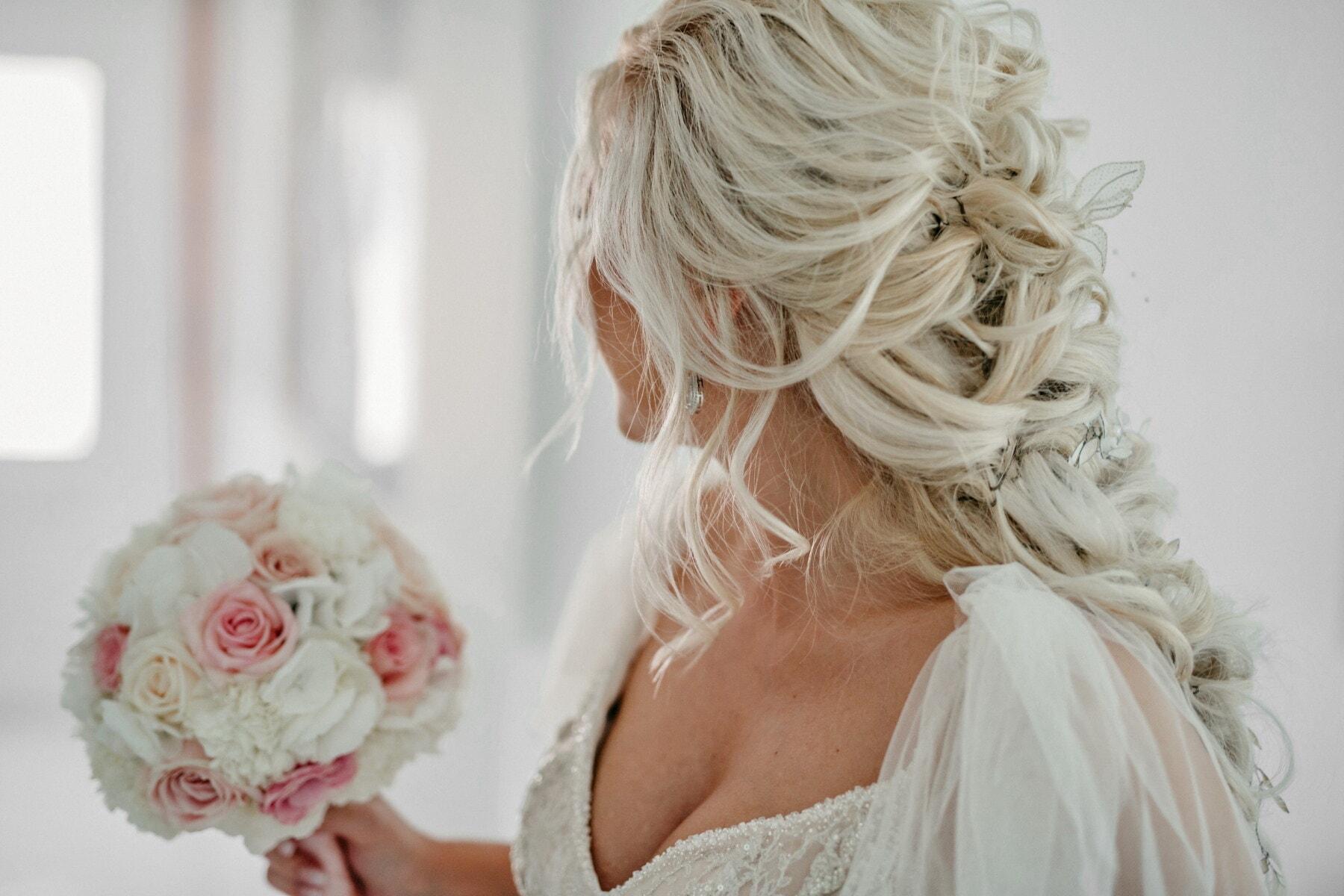 bride, blonde hair, hairstyle, blonde, wedding dress, wedding bouquet, side view, wig, shoulder, hair