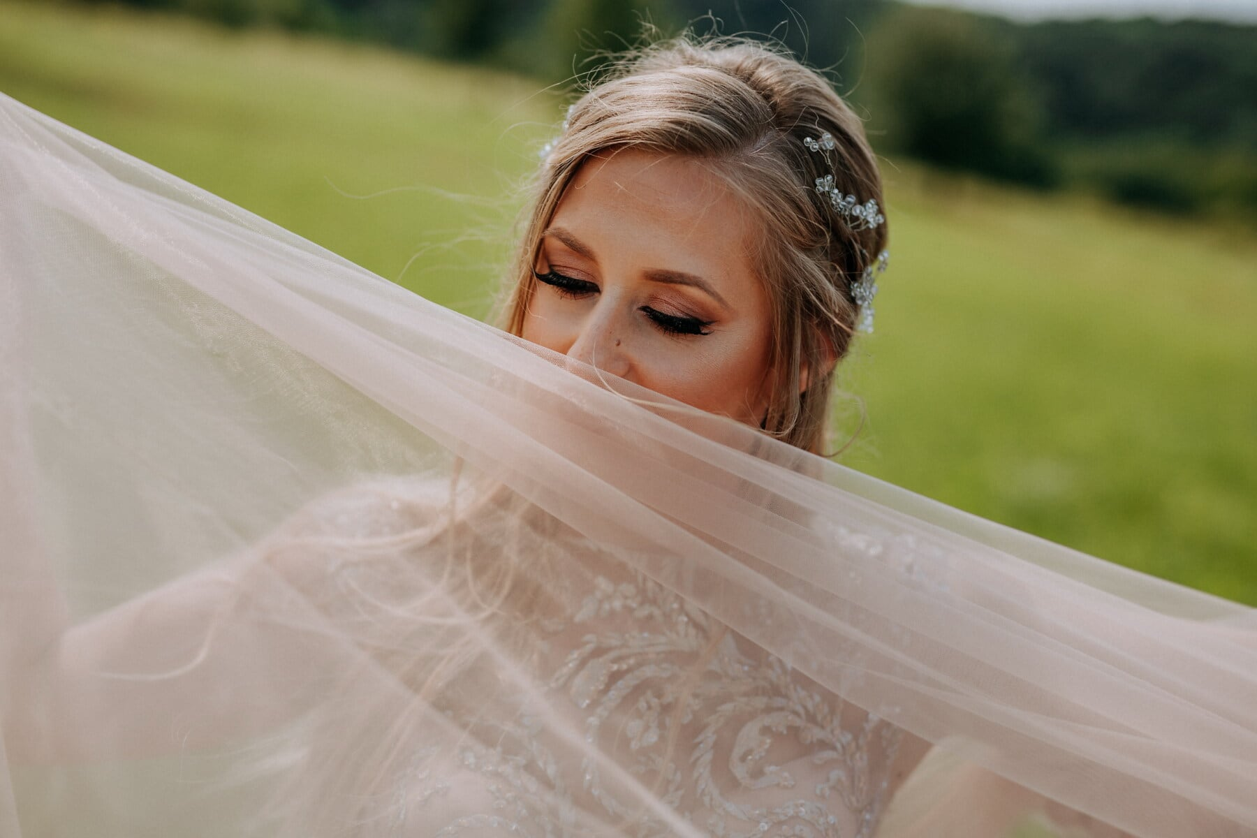 blonde, pretty girl, posing, veil, portrait, nature, woman, fashion, outdoors, girl
