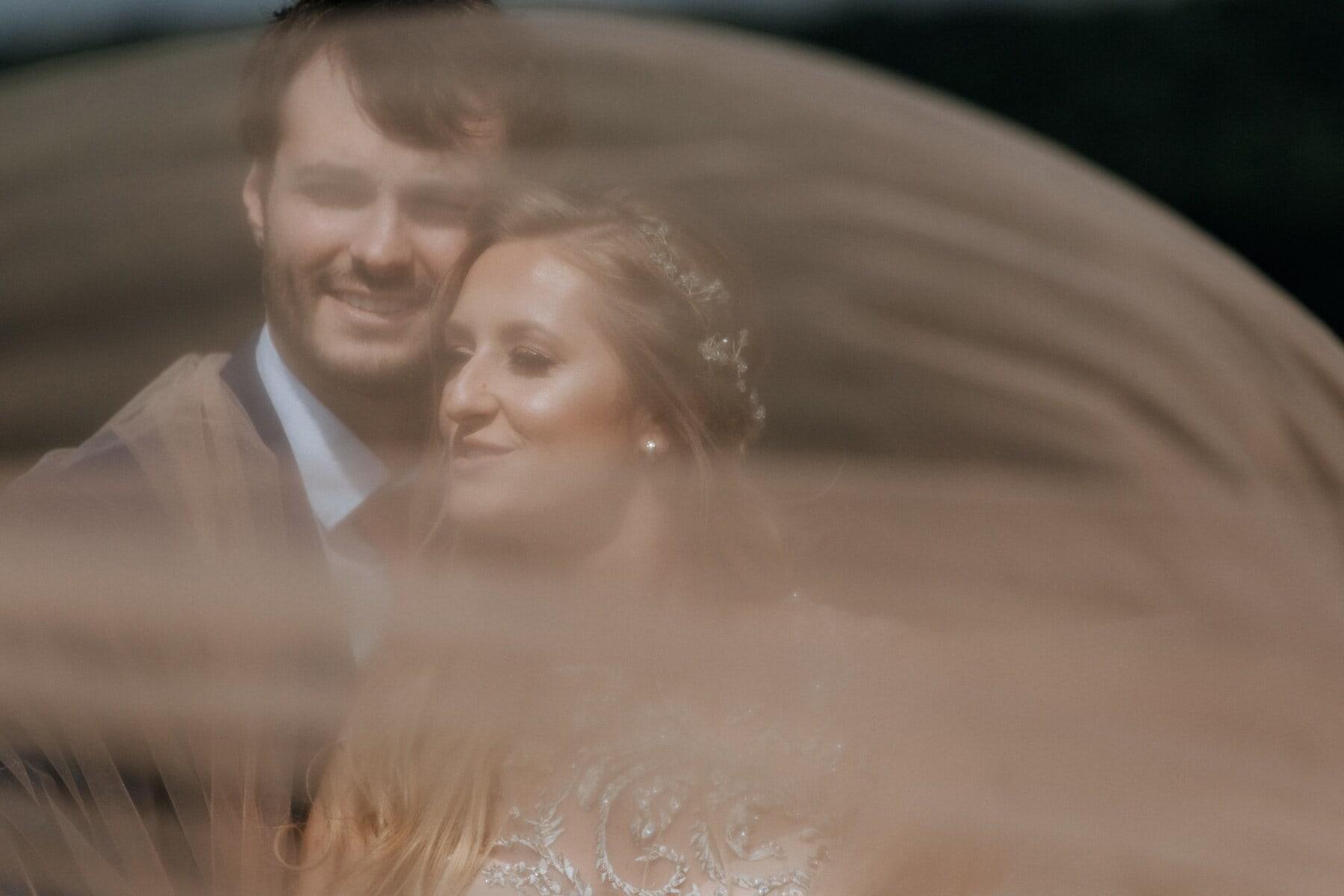 boyfriend, girlfriend, underneath, veil, love, woman, bride, groom, man, people