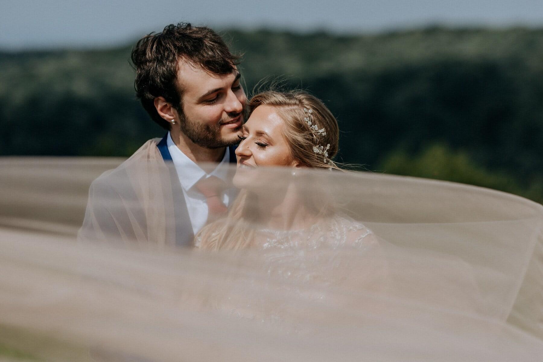 обіймати, романтичний, хлопець, подруга, портрет, поцілунок, щасливий, Кохання, щастя, наречений