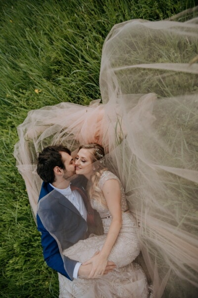 happiness, affection, boyfriend, kiss, girlfriend, love, romantic, grass plants, romance, veil