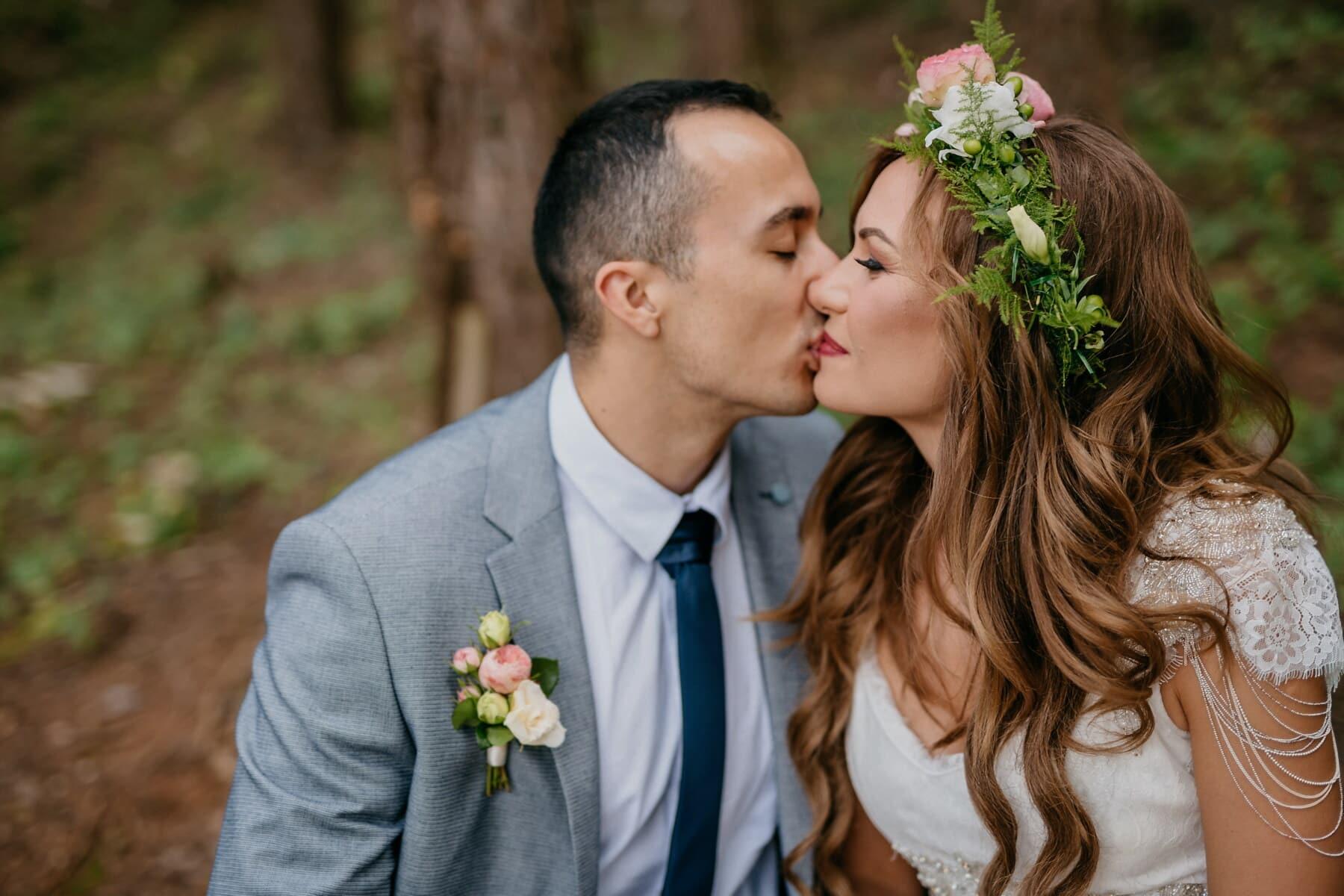 tendresse, la mariée, baiser, affection, jeune marié, homme, costume, entreprise, amour, romance