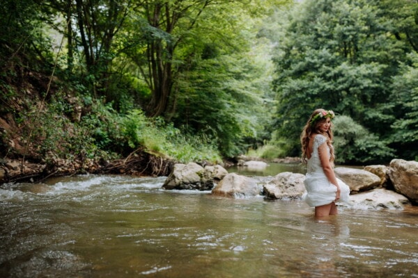 pretty girl, young woman, cold water, river, crosswalk, goddess, water, forest, wood, nature